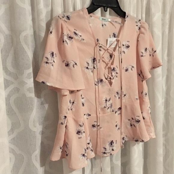 fae7b55237624c Kimchi Blue Tops | Lace Up Silky Short Sleeve Floral Blouse | Poshmark